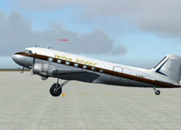 Screenshot of Yellow Birdair Douglas DC-3 on the ground.