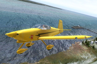 Screenshot of Yellow Devil Vans Aircraft RV-7A in flight.