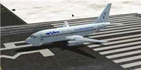 Screenshot of YeoDesigns Boeing 737-200 on runway.