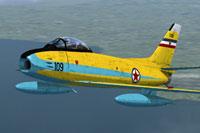 Screenshot of Yugoslav Air Force F-86E (M) Sabre in flight.