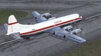 Screenshot of Zantop Lockheed Electra on runway.