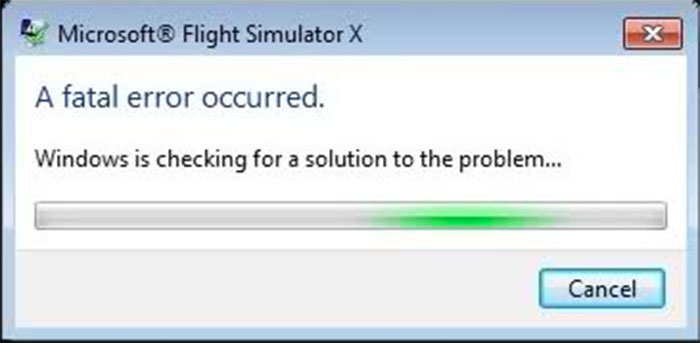 The Fatal Error message box in FSX