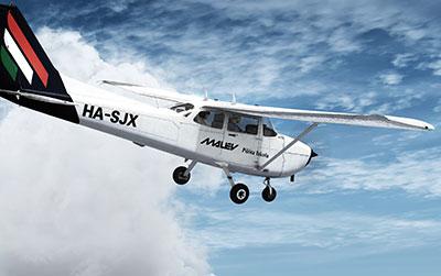 Malev C172 Trainer in flight in P3D.