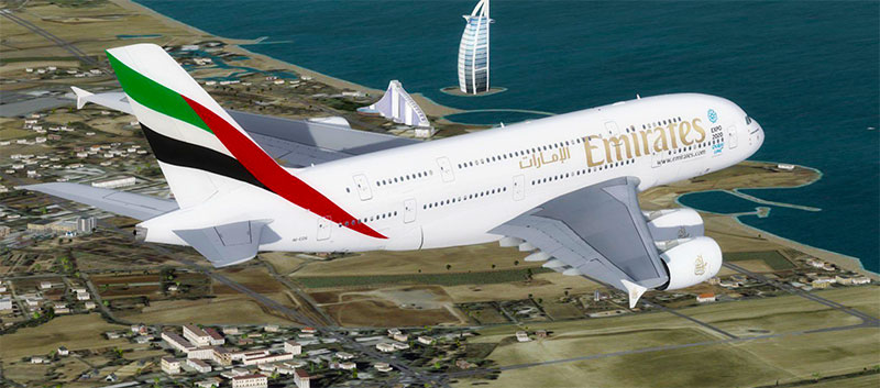 Emirates A380 in flight over Dubai in FSX.