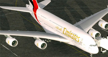Display of an Emirates Airbus A380 add-on after being installed in P3Dv4.