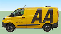 Side view of an AA roadside van.