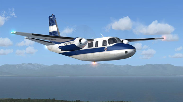 Aero Commander in flight.
