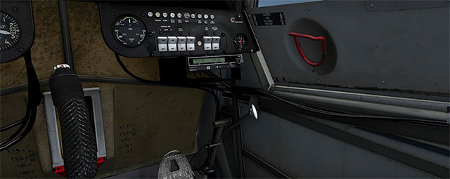 Accurate cockpit switches and dials on the panel