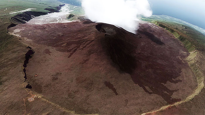 The active volcano on the island.