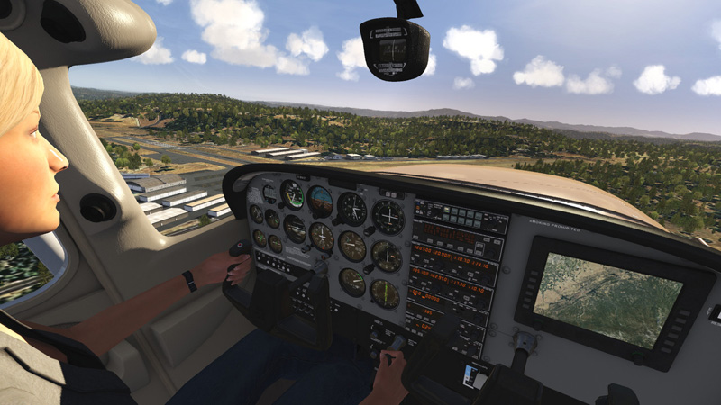 3D virtual cockpit and pilot.