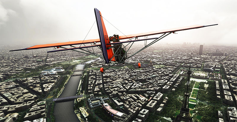 The Nemeth Designs Aerolite 103 flying over Paris in MSFS 2020.
