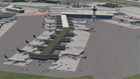 JFK airport updated and fixed with one of the AFCAD files for FSX.  Image shows the terminal building.
