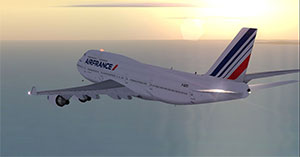 AF 747 flying into the sunset