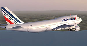 Air France 747 flying over water