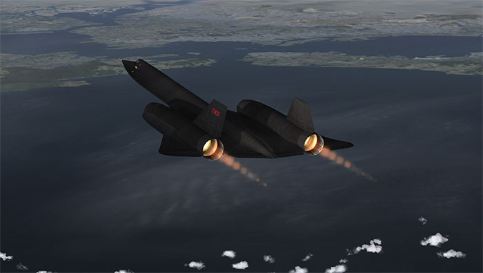 Afterburners alight in flight.