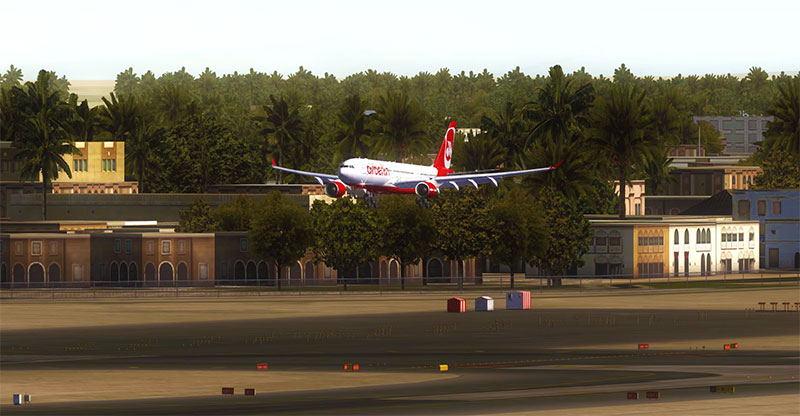 A heavily modded FSX showing an Air Berlin landing in the sunlight.