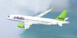 Air Baltic CS300 in flight.