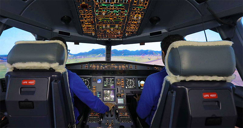 Inside Airbus' full commercial A330MRTT simulator.