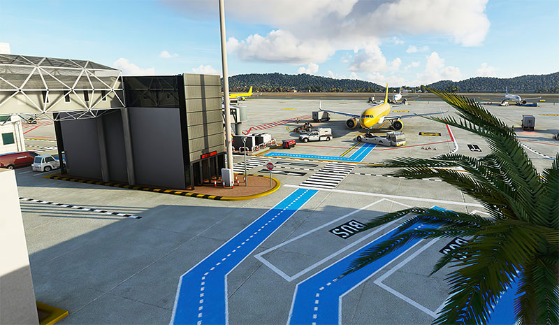 Airport and gates at Ibiza airport displayed in MSFS.