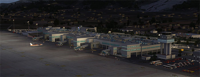 Airport terminal at night in Ibiza