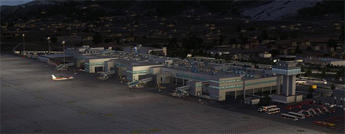 Airport terminal at night in Ibiza