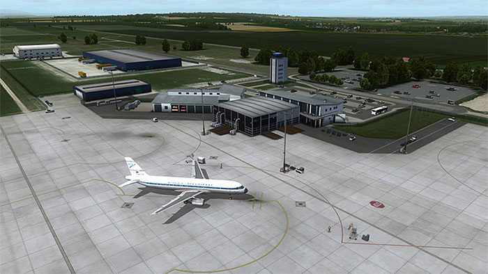 The airport ramps and terminals
