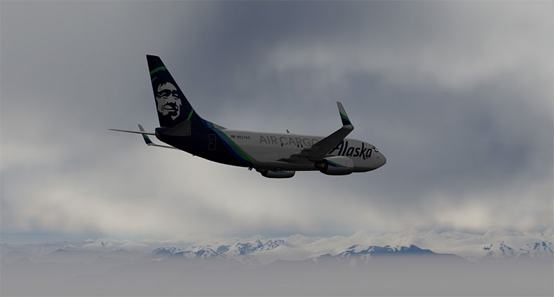 Alaska Airlines 737 over mountains in v5.
