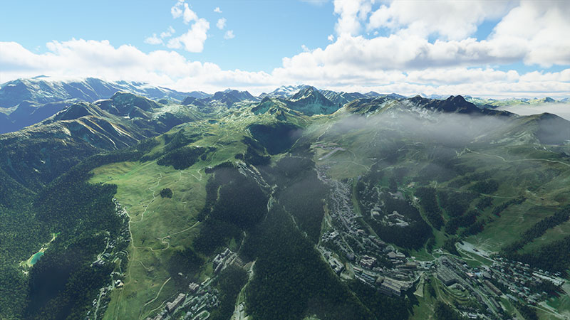 Alpine scenery displayed in the sim.