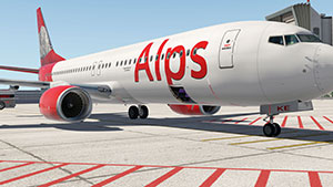 Alps Boeing 737-800 on ramp in X-Plane 11.