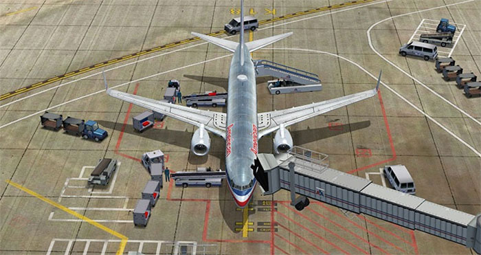American Airlines aircraft with trucks, baggage and fuel services.