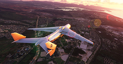 An-225 flying over town in Microsoft Flight Simulator (2020) release version.