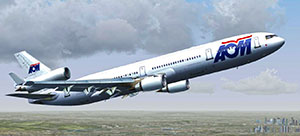 AOM MD-11 flying over Paris.