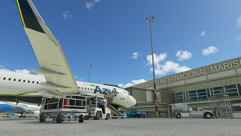 Azul A320 at airport terminal.