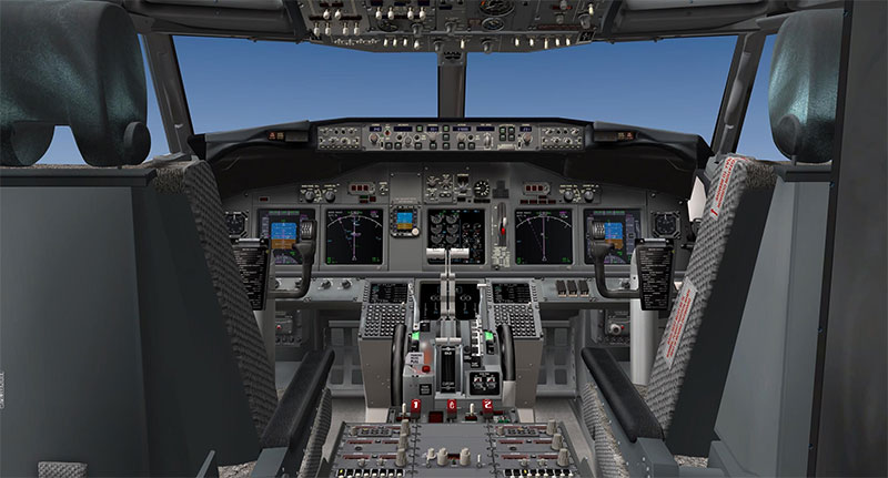 Cockpit of a Boeing 737 in XP11.