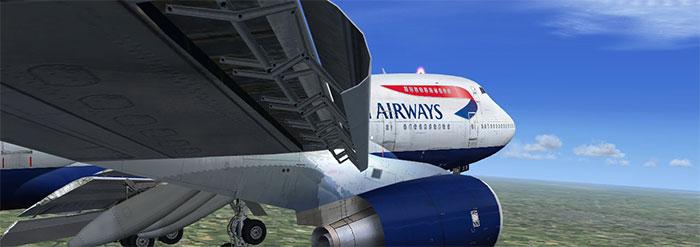 BA 747 wing view landing