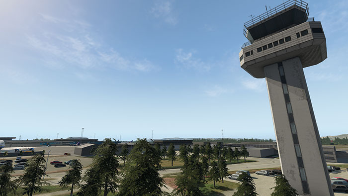 Control tower and airfield