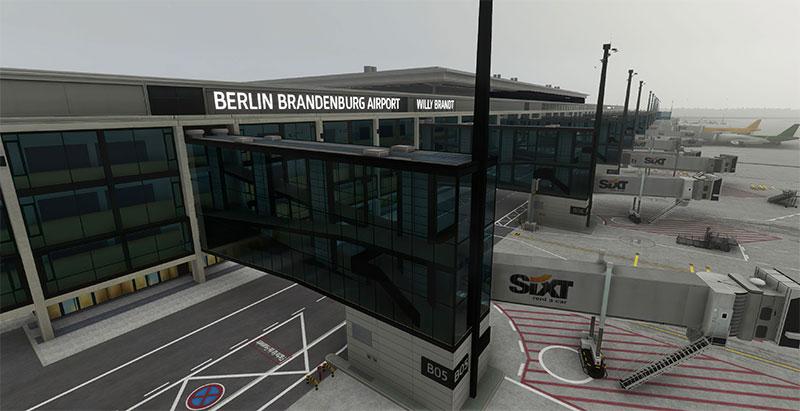 Main terminal building of Berlin Brandenburg Airport displayed in Microsoft Flight Simulator 2020.