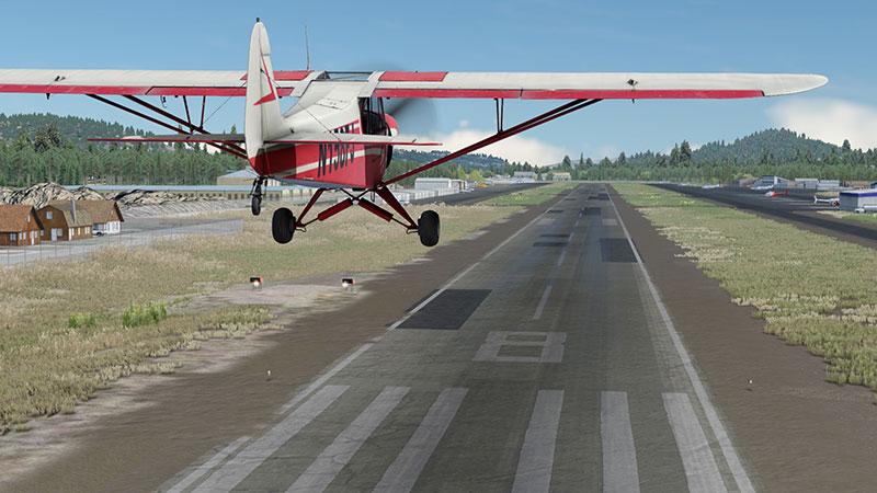 Landing at Big Bear airport.