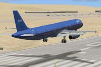 Screenshot of bmi Airbus A321 landing on runway.