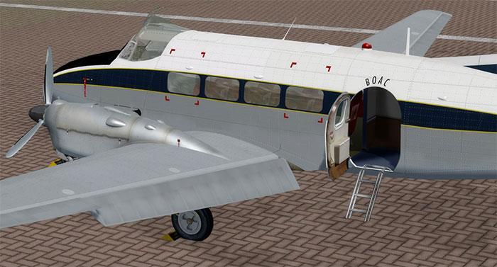 BOAC Dove with passenger door open.