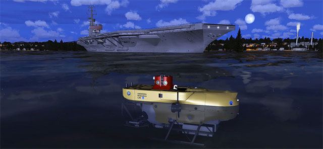 Image shows boats and submarines in Prepar3D, demonstrating the sea aspect to the simulation.