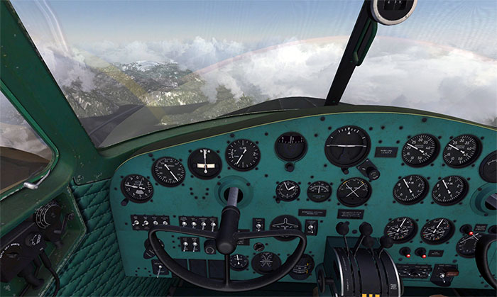 The highly detailed 3D virtual cockpit.