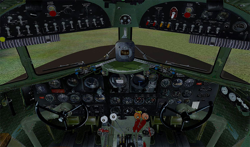 The virtual cockpit of the C-47.