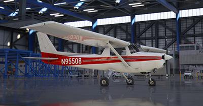 N95508 Cessna 152 in hangar in MSFS 2020.