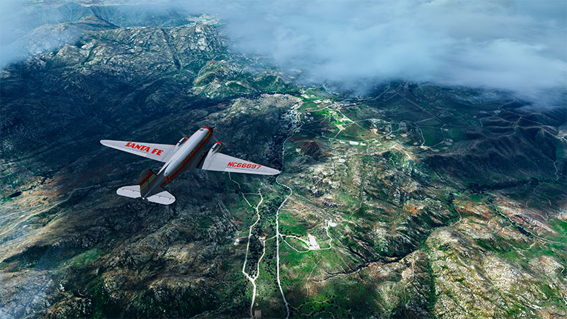 Flying over California with the VFR scenery enabled in FSX.