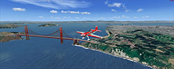 Golden Gate bridge displayed using the California Photoreal Scenery for FSX and P3D.
