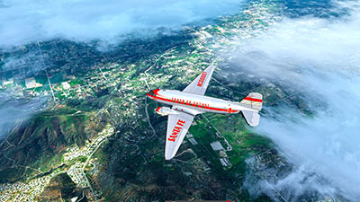 DC-3 flying over California in Prepar3D v5.