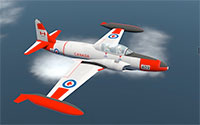 Canadair CL-30/CT-133 Silver Star mid flight above the clouds.