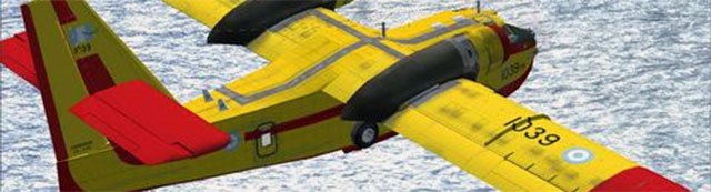 Canadair CL-215 flying over sea in FSX