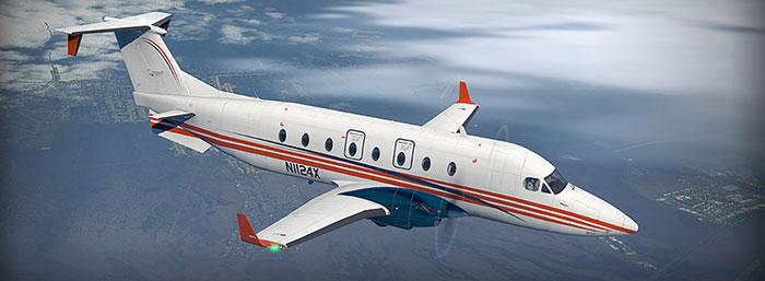 Carenado's B1900 in flight.